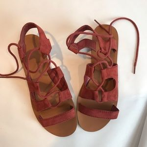 Atmosphere EUC suede burnt orange tie up sandal
